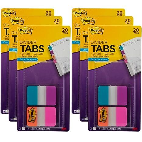 """Post-it 120 pestañas divisoras 1 """"en dispensadores de color para la página"""