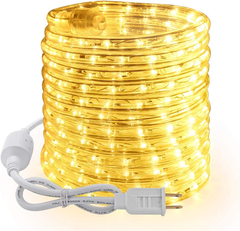 Brizled 18ft 216 LED Rope Lights, 120V UL Listed Plugin Rope Lights Connectable with Clear PVC Tube, Indoor/Outdoor Decorative Rope Lighting for Backyards, Garden, Patio, Christmas, Warm White