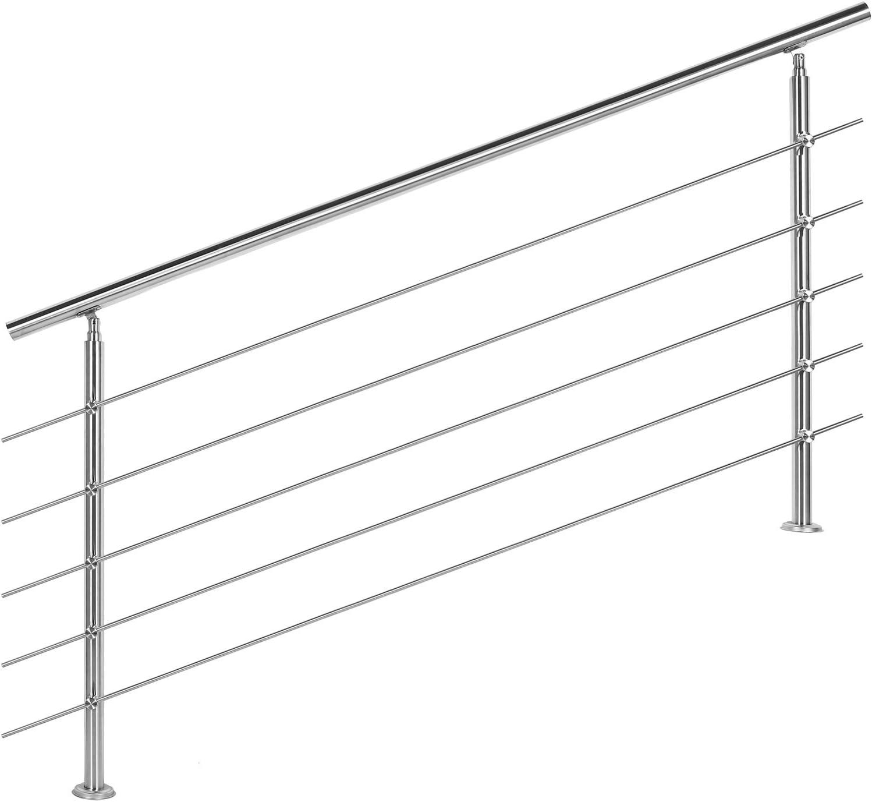 Barandilla acero inox 5 varillas 180cm Pasamanos escalera Parapeto
