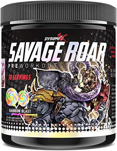 Dynamik Muscle Savage Roar Preworkout, Formulated by Kai Greene, 0 Artificial Colors, 0 Artificial Dyes, 0 Proprietary Blends, New Formula Rainbow Blast