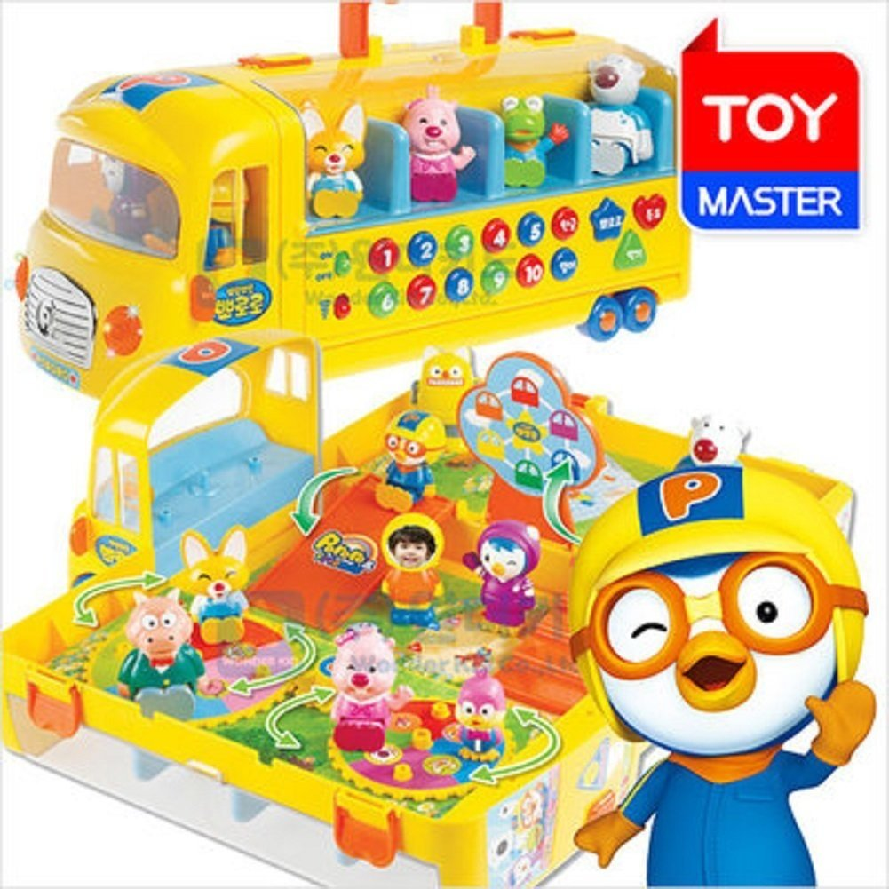 Pororo Bang ! School Bus Play Set/Foldable Bus Toy/Convenient Handle/My Own Figure!/Korean&English&Number Learning Toys/Pororo O.S.T/Musical Toys/10 Pororo Figures