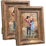 ZBEIVAN 2 Pack 4x6 Picture Frames Set Vintage Brown Wood Family Art Rustic Photo Frame for Tabletop Stand or Wall…