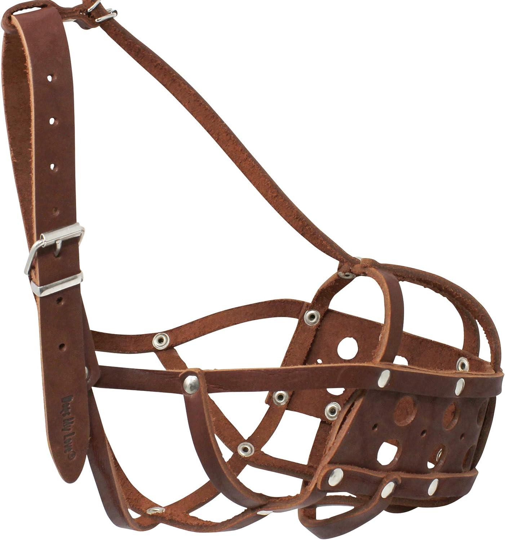 Real Leather Secure Dog Mesh Basket Muzzle #134 Black Circumfe... Free Shipping