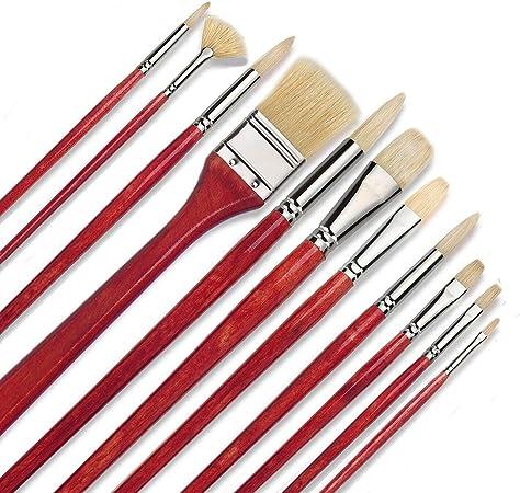 Pure Hog Bristles - Juego de pinceles para artistas, 11 piezas, pinceles de pintura para óleo, acrílico con caja de transporte, suministros de arte: Amazon.es: Hogar