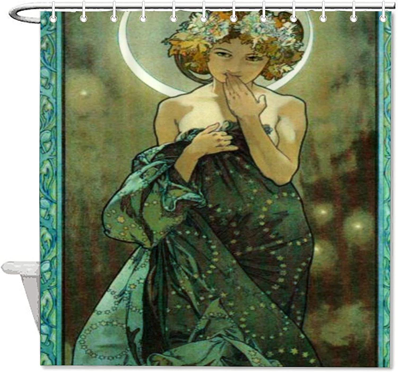 VinMea Bath Curtain Alphonse Mucha Clair De Lune Polyester Waterproof Fabric Bath Curtain with Hooks,Shower Curtain for Bathroom Decor 72