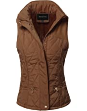 Made by Emma Women's Solid Basic Quilted Vest Side Rib Panel Details