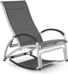 Blumfeldt Beverlywood Sun Lounger Rocking Chair - Aluminium Frame, 4-Way Adjustable Backrest, DualComfort, Material: 70% PVC and 30% Polyester Comfort Mesh, Stainless Steel Screws, Grey