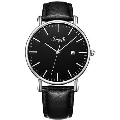 Songdu Men's Ultra Thin Quartz Analog Date Wrist Watch With Black Leather Strap by Songdu