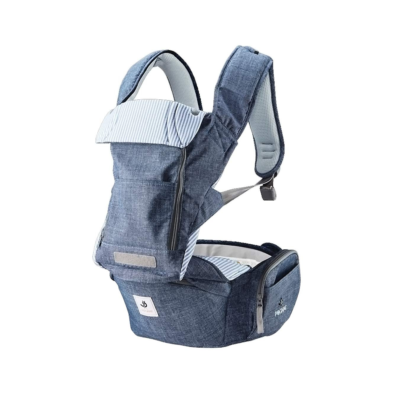 Pognae No 5 Organic Baby Hipseat All in One Carrier Six Position for Infants Babies Toddlers Blue-Melange Denim