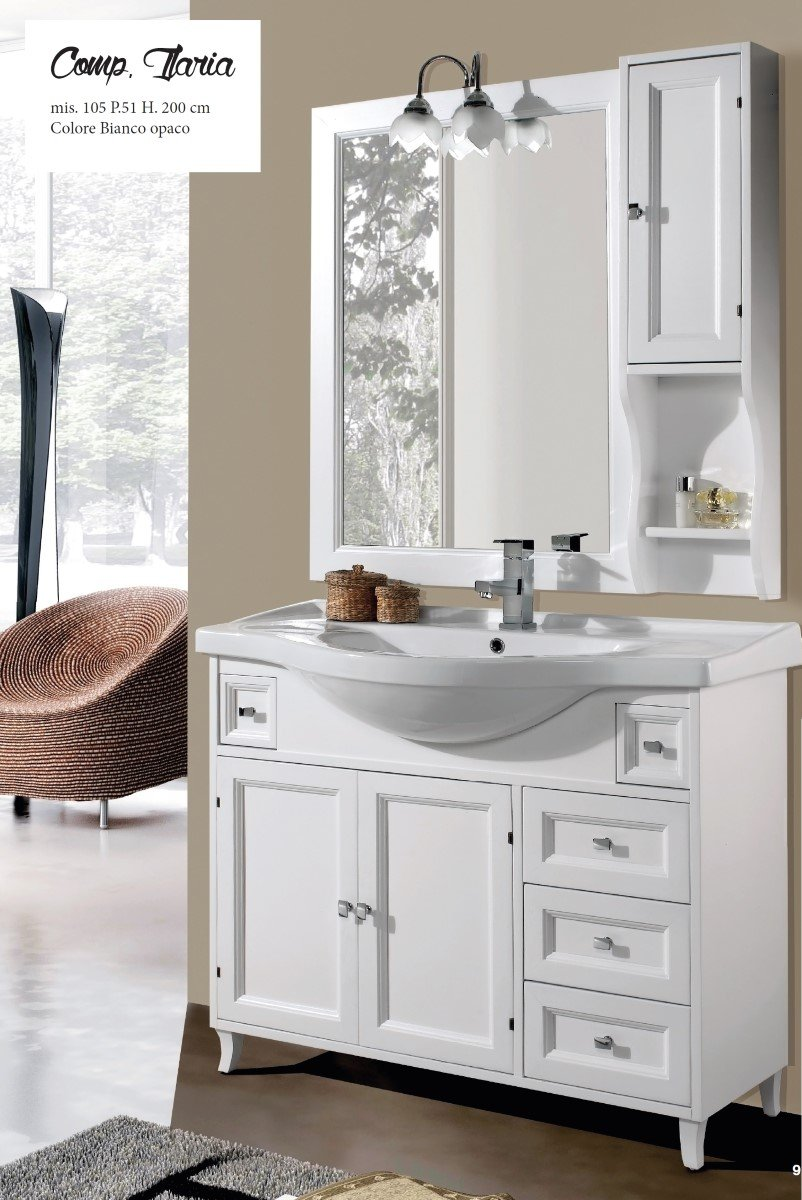 Mobile sottolavabo con lavabo e specchio Ilaria 105 cm Per Arredo ...