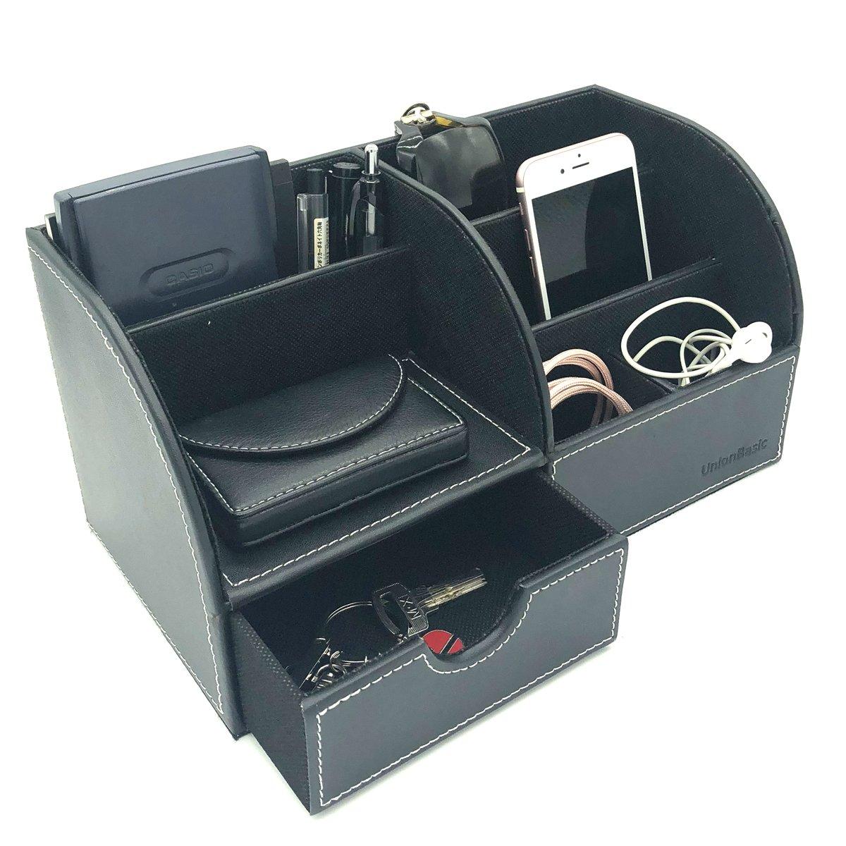 UnionBasic Office Desk Organizer - Multifunctional PU Leather Desktop Storage Box - Business Card/Pen/Pencil/Mobile Phone/Stationery Holder (Black)