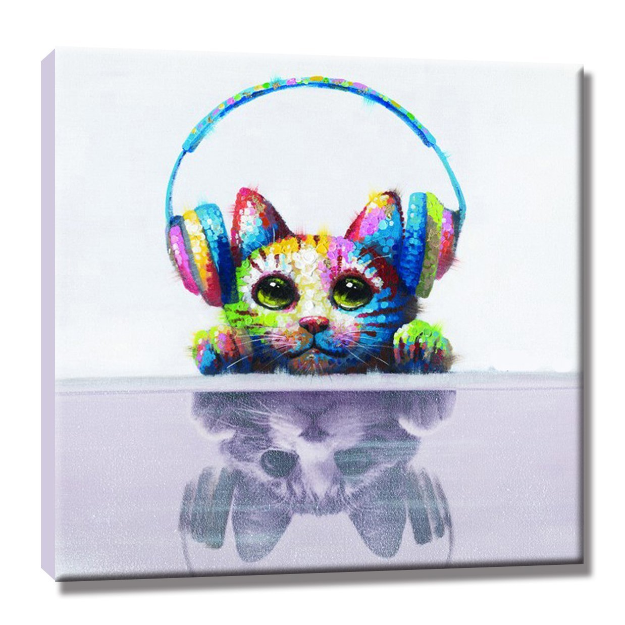 Colorful Animal Hand Painted Oil Paintings on Canvas Stretched with Frames Cute Cat Abstract Modern Wall Artwork for Home Decor,Ready to Hang(Music Cat)
