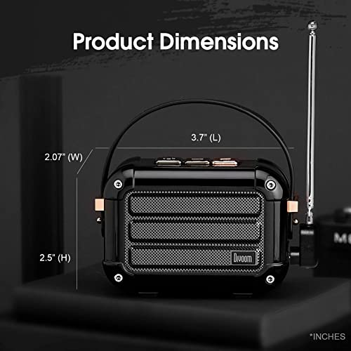 Divoom Macchiato Stylish Portable Bluetooth Speaker with FM Radio, 6W Output with TWS Function Black