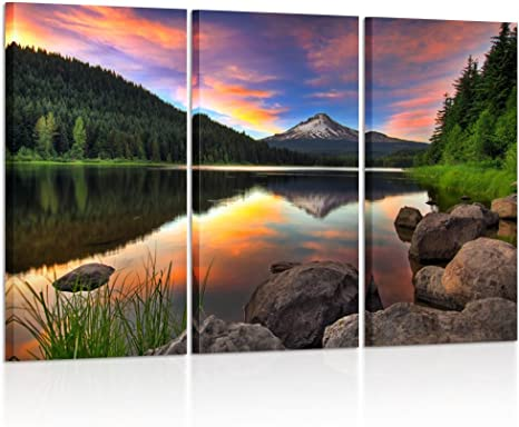 Amazon Com Kreative Arts 3 Panel Wall Art Mount Hood View From Trillium Lake Oregon Usa Mountain Sunset Painting Print On Canvas Landscape Pictures For Home Decor Decoration Gift Piece Posters