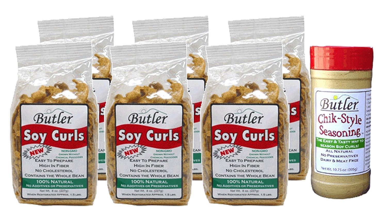 Butler Soy Curls, 8 oz bags - 6 Pack + Chik-Style Seasoning 71Zej2BSffSL