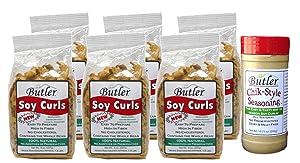 Butler Soy Curls, 8 oz bags - 6 Pack + Chik-Style Seasoning