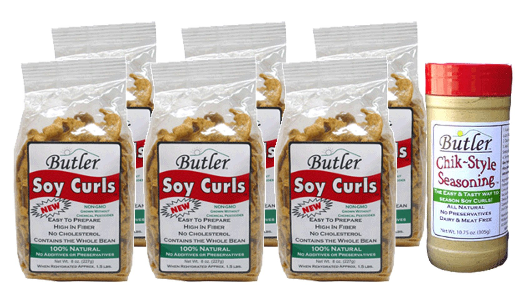 Butler Soy Curls, 8 oz bags - 6 Pack + Chik-Style Seasoning by Butler Foods