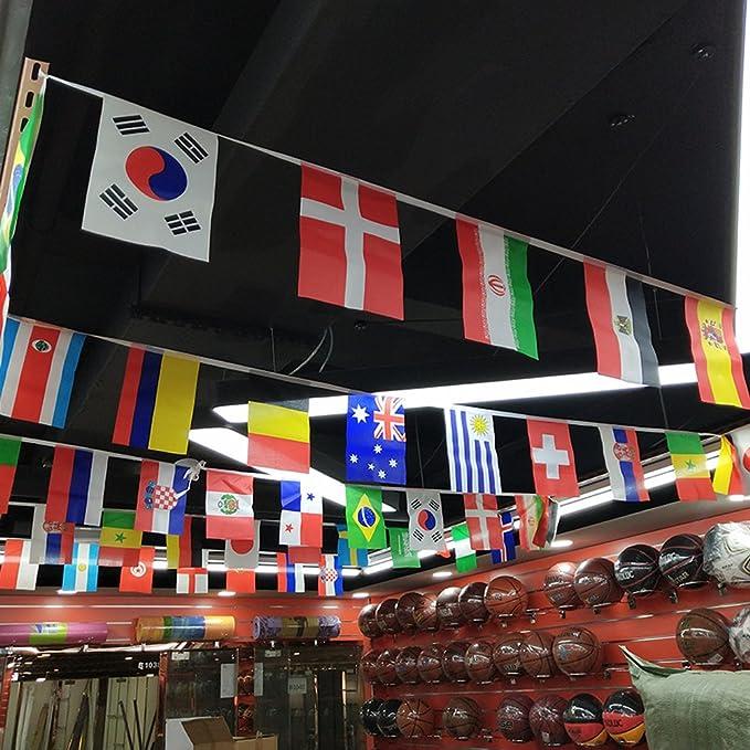 Happyday 2018 Coupe du Monde de Football Fanions, 9 m de Long 14 ...