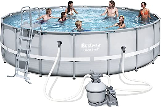 Bestway Power Steel Frame Pool Set, Gris Claro, Redondo con Arena ...