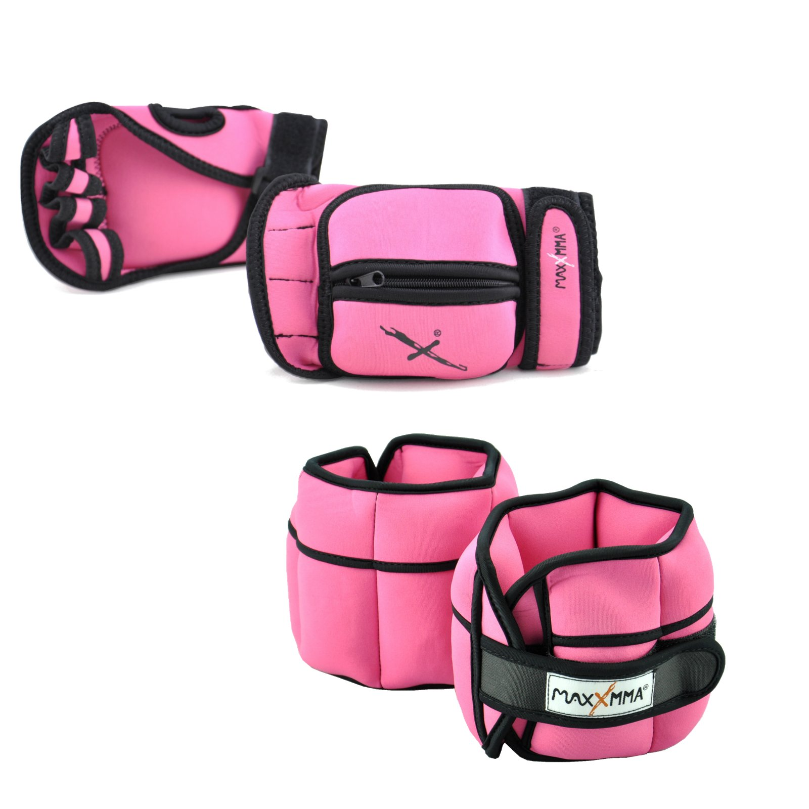 MaxxMMA 5 lbs Adjustable Ankle Weights Pair + 2 lbs Weighted Gloves (Pink)