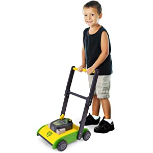 Push-Along Wooden Lawn Mower | Classic Kid-Powered Fun for Indoor & Outdoor Play and Early Mobility | Learning Chores and Pretend Yard Work | Includes 8 Felt Grass Pieces | Push-n-Play Early Walking