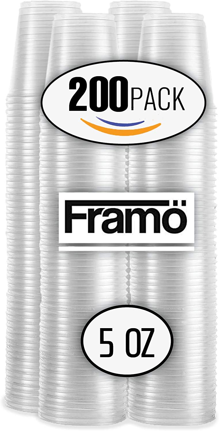 5 Oz Clear Plastic Cups by Framo, For Any Occasion, Disposable Transparent Ice Tea, Juice, Soda, and Coffee Glasses for Party, Picnic, BBQ, Travel, and Events (200)