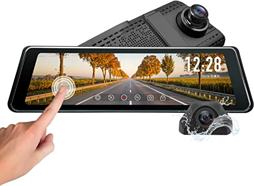 2020 Backup Camera,Eonon 9.88 Inch Full Touch Screen Stream Media Dual Lens AHD Reverse Camera,1296P FHD Front Camera and 720P Rear View Recorder with LDWS,GPS for Trucks and cars-R0011