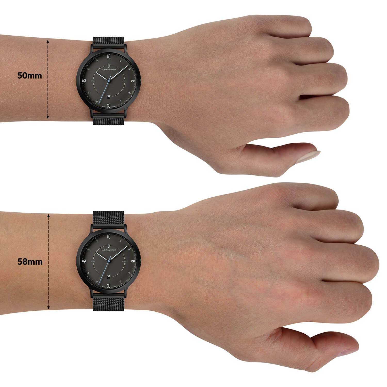 Lilienthal Berlin tidstrogen automatik armbandsur Gehäuse: Schwarz / Zifferblatt: Schwarz / Armband: Mesh Schwarz