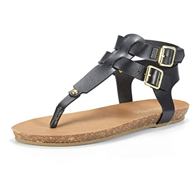 44ce12aed175c7 DREAM PAIRS Women s Bold 03 Black T Strap Fisherman Ankle Strap Back Buckle Flat  Sandals Size 5