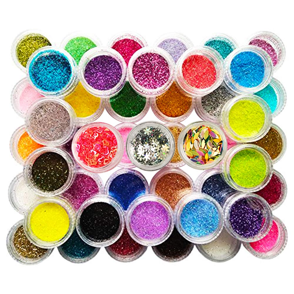 Happlee 48 Boxes Nail Art Glitter Powder Manicure Art Decoration for Nail DIY Eyeshadow Face Slime Making and Art Projects by Happlee