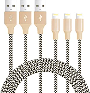 iPhone Cable, Quntis 3 Pack 6FT Lightning Cable Durable Nylon Braided USB Charger Cord Compatible with iPhone Xs Max XS XR X 8 Plus 7 Plus 6S Plus 6 Plus 5 5S 5C iPod iPad Pro and More, Gray