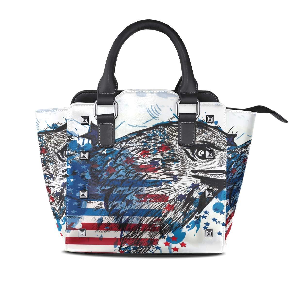 Design1 Handbag Eagle Genuine Leather Tote Rivet Bag Shoulder Strap Top Handle Women