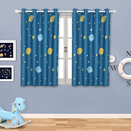 Kids Blackout Curtains for Boy\'s Bedroom Eyelet Thermal Insulated Room  Darkening Star Planet Space Printed Curtains for Nursery,Set of 2 Panels  (W46 x ...