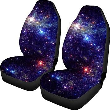 Aoopistc 2 PCS Car Seat Covers Fit SUV Sedan Soft Comfort Galaxy Starry Sky Pattern Vehicle Seats Cushions
