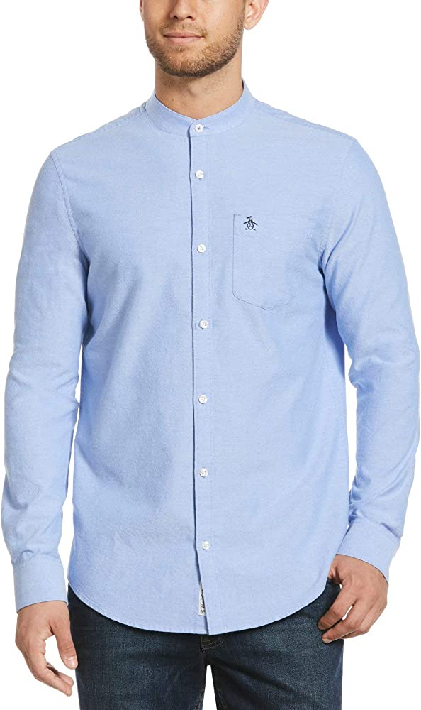 ORIGINAL PENGUIN Grandad Cotton Oxford Shirt Camisa, Azul (Amparo Blue 424), Small para Hombre: Amazon.es: Ropa y accesorios