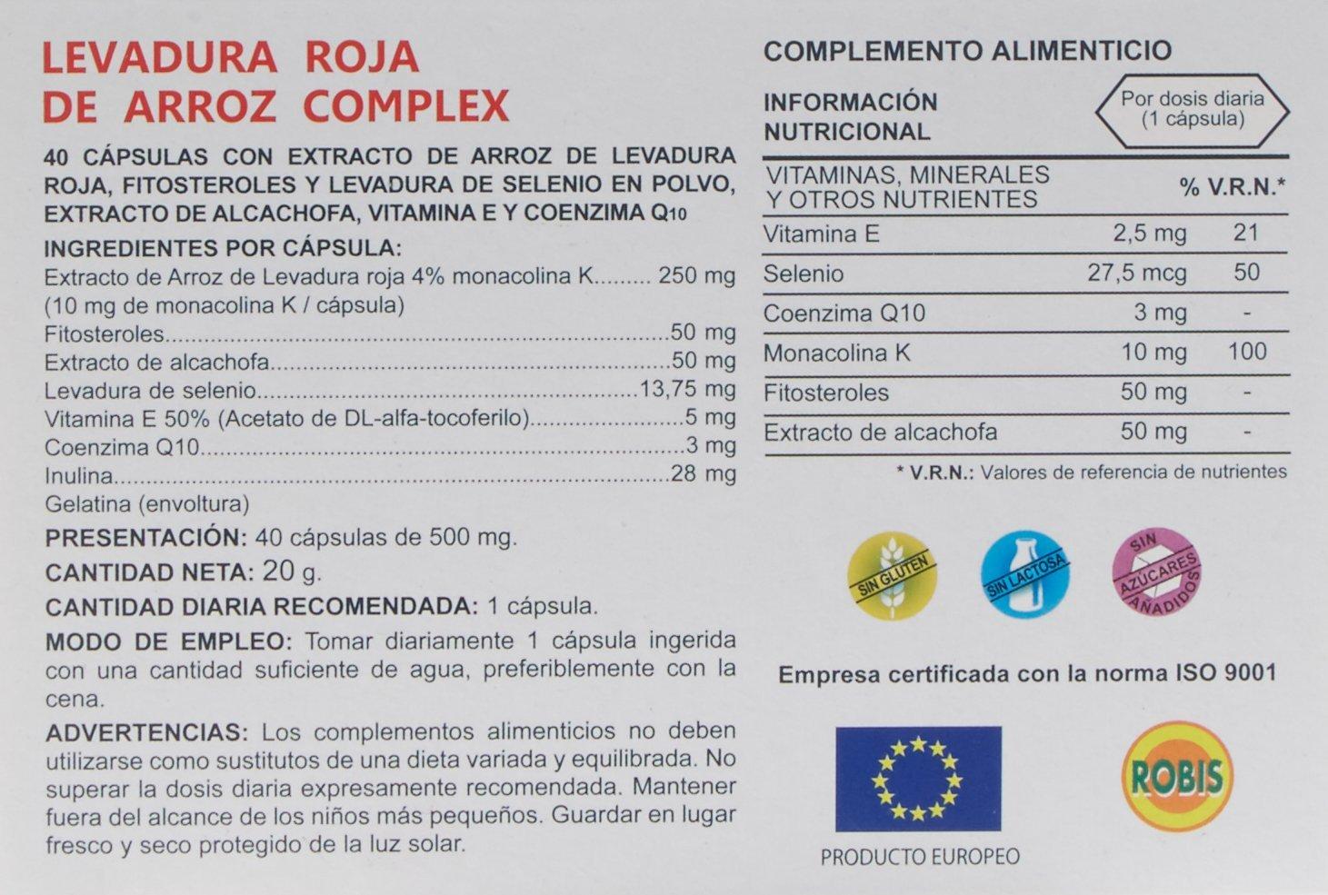 Robis Levadura Roja de Arroz - 40 Cápsulas: Amazon.es: Salud y cuidado personal