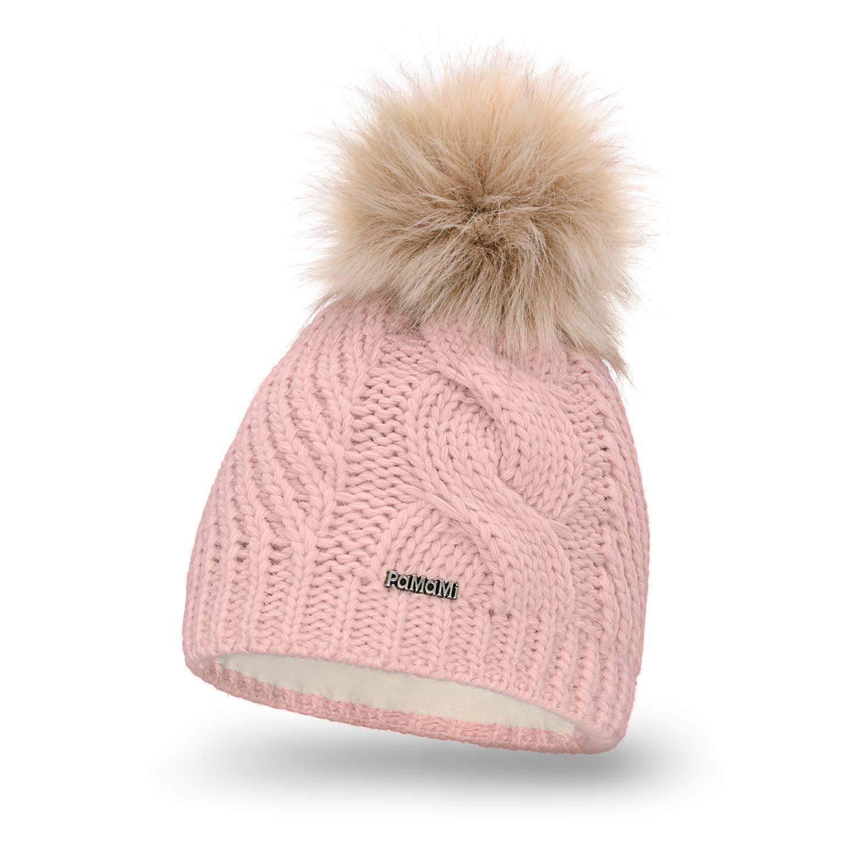 PaMaMi Damen Thermo Wintermütze | warme Strickmütze mit Bommel | Gestrickte weiche Bommelmütze | Slouch Beanie Hergestellt in EU | Farbenauswahl 18511