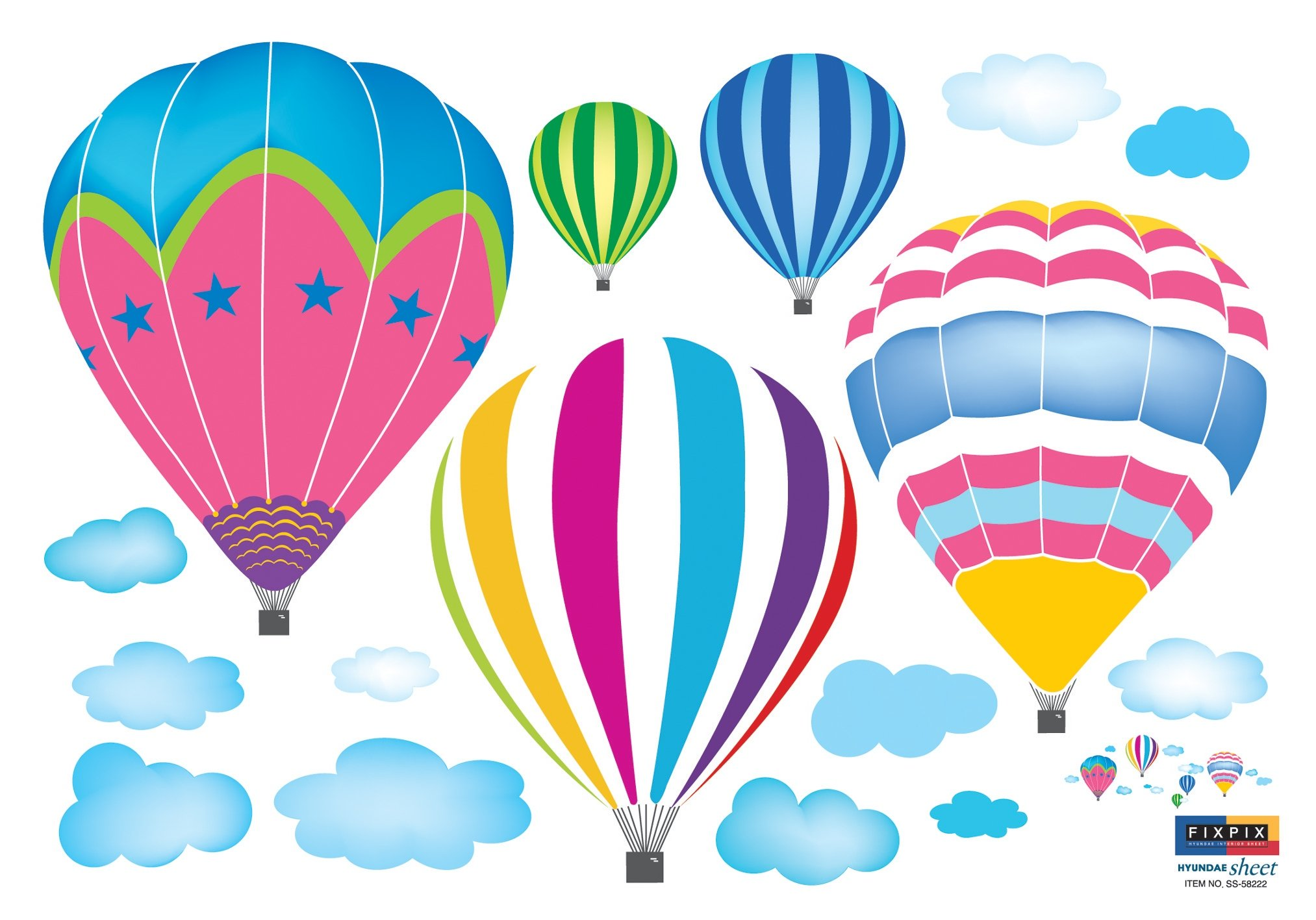 Ryuan colorful hot air balloon in the sky for Sticker deco