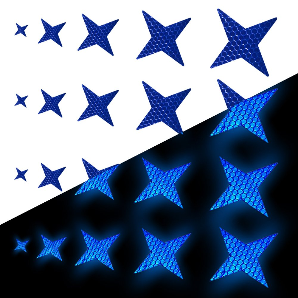 Tuqiang Four-pointed Star Shape Reflective Tape Waterproof Self-Adhesive For Wheelchair Walking Stick Footwear High Visibilty Tape Outdoor Safety Reflective Sticker 25 Pcs Yellow