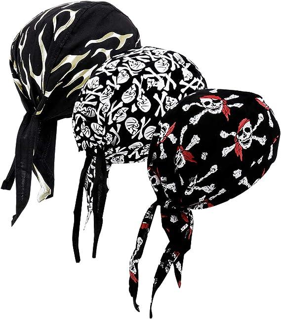 COW SKULL BLACK Xlong Cotton Mens Womens Sweatband Dorag Biker Durag Chemo Dewrag