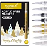 PANDAFLY Acrylic Paint Pens for Rock Painting, Stone, Ceramic, Wine Glass, Wood, Fabric, Canvas, Metal. Set of 8, 2 White 2 G