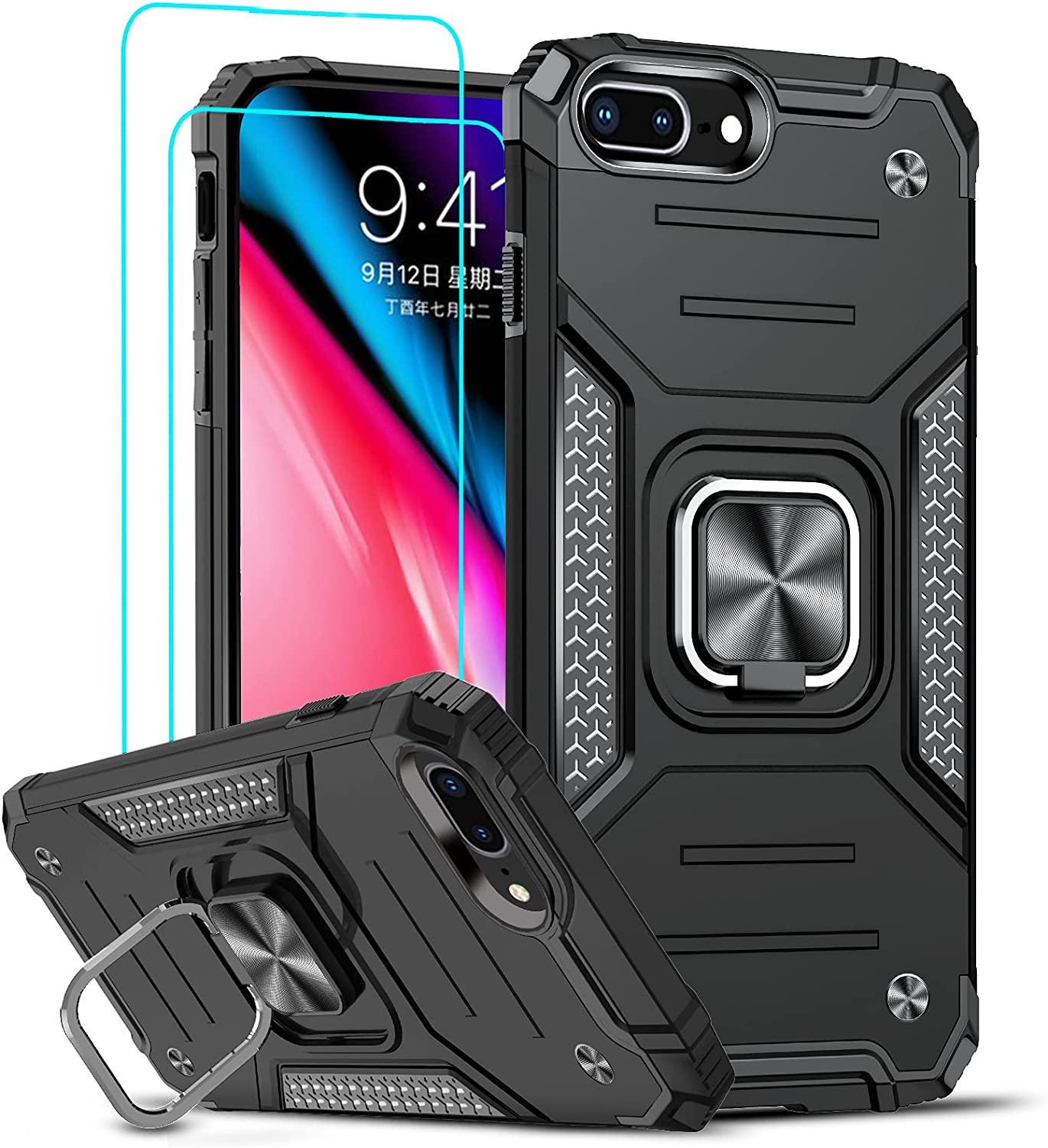 LeYi Compatible with iPhone 8 Plus Case, iPhone 7 Plus Case with 2 Tempered Glass Screen Protector, Shockproof [Military-Grade] Phone Case with Ring Kickstand for iPhone 8 Plus/7 Plus/6s Plus, Black