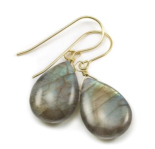 Labradorite Earrings Smooth Fat Teardrop Blue Green Gold Flash Simple Dangle Drops