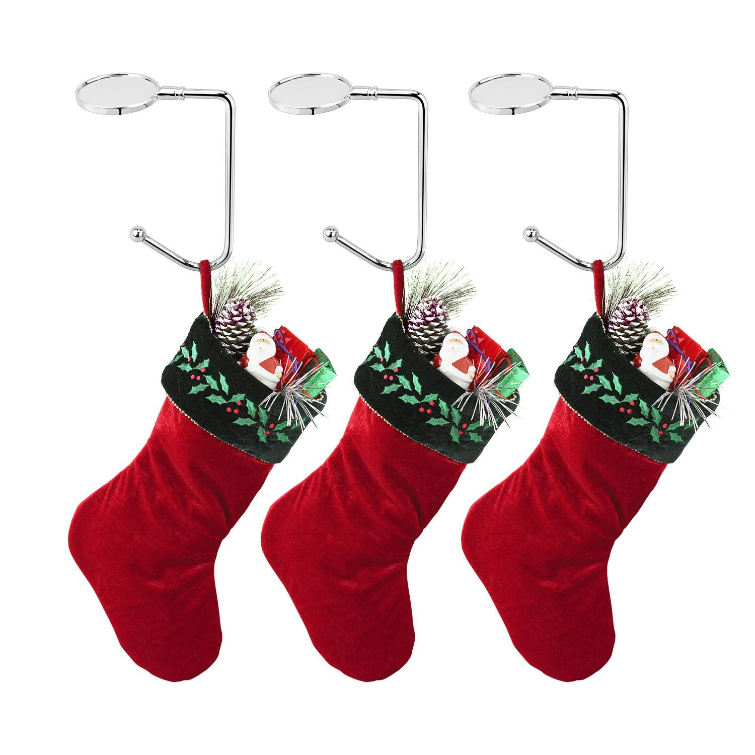 kungfu Mall 3PCS Christmas Stocking Holders Metal Hooks Hanger Grip Clips for Christmas Table Fireplace Hanging Decoration