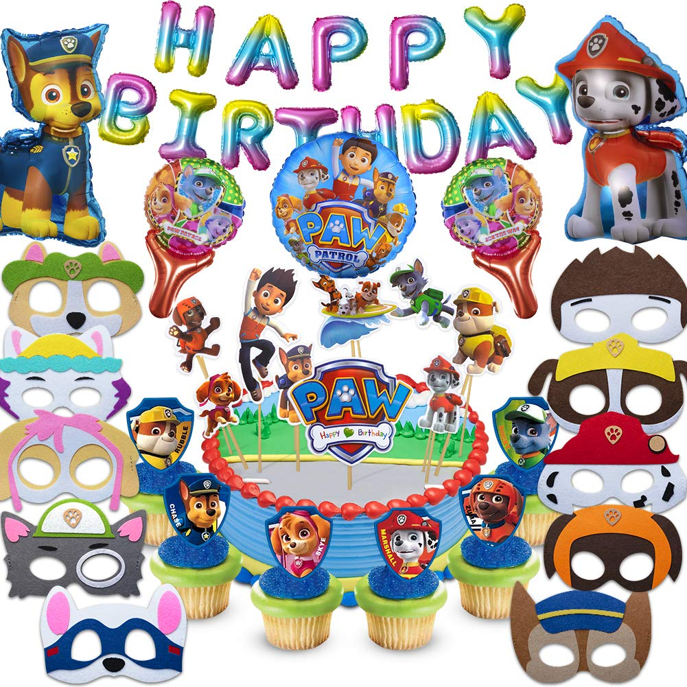 Fun Party Paw Dog Patrol Party Supplies for Kids, 40 Pcs Party Favors - Cake Topper, Cupcake Toppers, Felt Mask, Foil Balloon, Happy Birthday Banner by Fun Party