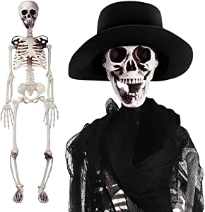 35 Inches Posable Halloween Skeleton Decorations Pose-N-Stay Full Body Skeleton with Movable Joints, Hat, Creepy Cloth for Halloween Skeleton Prop Decoration Party Supplies Decor, Hanging Available