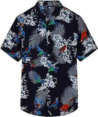 Camisa Hawaiiana Hombre Casual Estampado de Flores Manga Corta ...