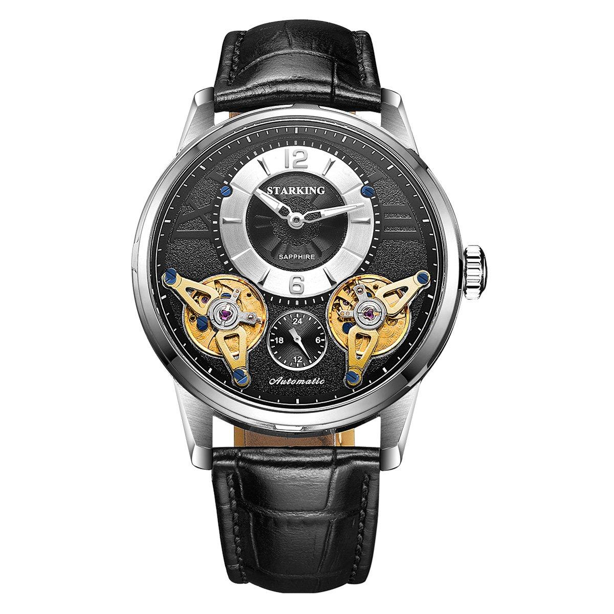 STARKING Tourbillon Automatic Watch Genuine Leather AM0222 Waterproof Men Mechanical Black with Subdial Sapphire Luminous Hands Skeleton