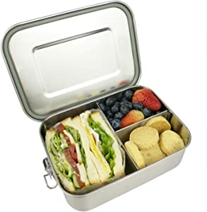 Leak Proof Stainless Steel Bento Lunch container For Kids,Bento Lunch Box for Adults, 3 Compartment Packing Box for Meal Fruit Snack, Dishwasher Safe,Perfect for Work School Lunch(40OZ/1200ML)