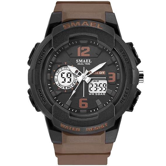 Beydodo Reloj Hombre Relojes Electronicos Reloj Multifunción Reloj Hombre Moda Reloj Deportivo Reloj Impermeable Reloj de Doble Pantalla Café: Amazon.es: ...